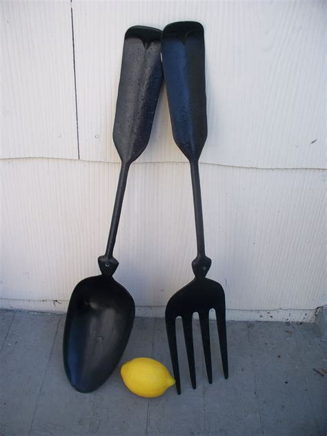 Black Wooden Spoon And Fork Wall Decor by Vintage Large Metal Spoon And Fork Wall Decor By Luciawren