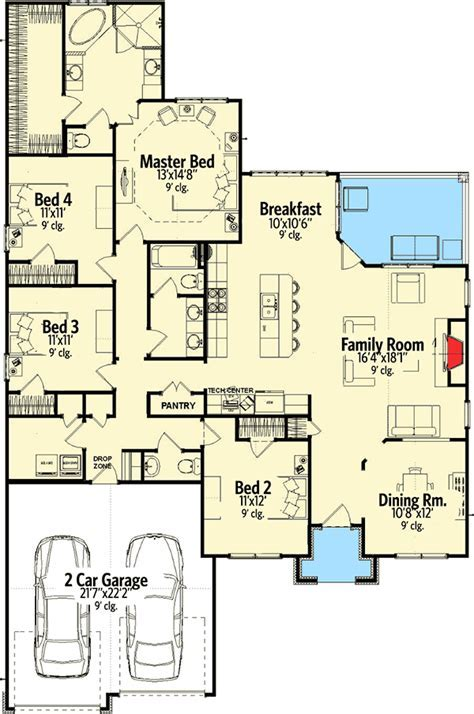Craftsman House Plan with Open Layout   86221HH