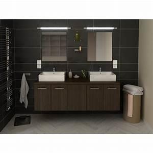 Meuble Salle De Bain Noir Et Bois : meuble de salle de bain double vasque 150 cm finition bois noir julie ~ Teatrodelosmanantiales.com Idées de Décoration