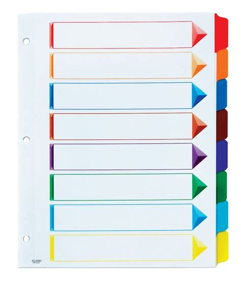 divider tabs template oxford omni dex colour coded tab dividers 8 tab assorted