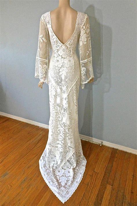 Boho Vintage Lace Wedding Dress Cream Backless Wedding
