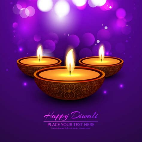 bokeh bright purple background  happy diwali vector