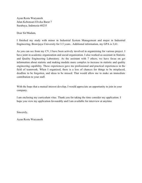 Contoh Cover Surat Lamaran Kerja by Contoh Cover Letter Bahasa Inggris Untuk Hotel Surat