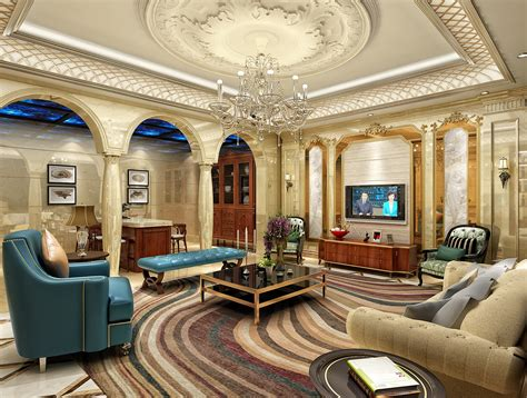 Europeanstyle Luxury Living Room Ceiling Decoration