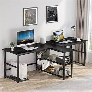 94, 5, Inches, Two, Person, Desk, Double, Computer, Desk, With, Storage, Shelves, Extra, Long, 2, People