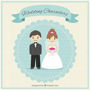 Cute wedding characters Vector | Free Download
