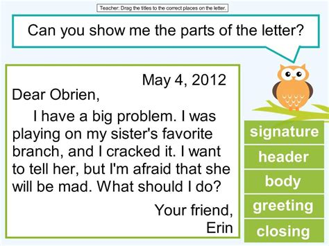 2nd grade friendly letter lesson owl classroom writing writing lessons friendly letter