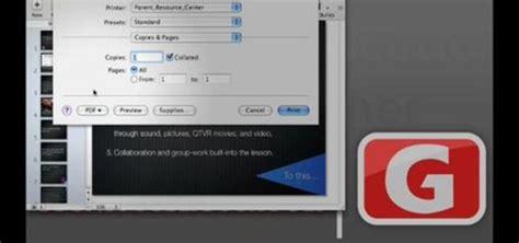 printing options  apple keynote iwork