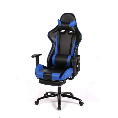 blue office chair high  computer racing gaming chair