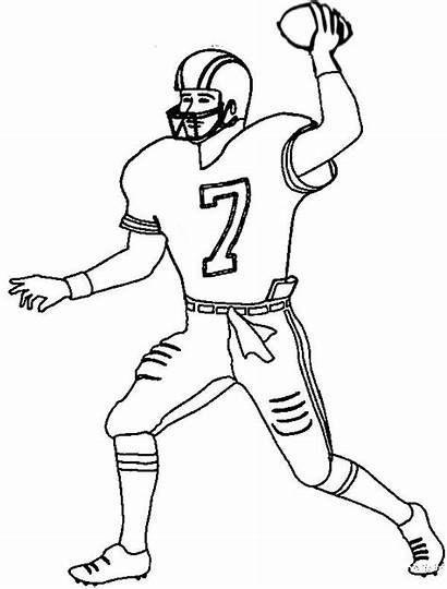 Football Player Coloring Pages Players Printable Drawing