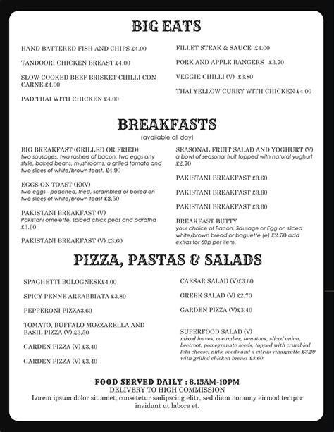 Pizza Menu Template Word by Design Templates Menu Templates Wedding Menu Food