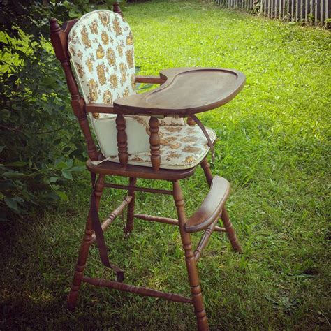 vintage wooden baby high chair with original by sweetlilybeans