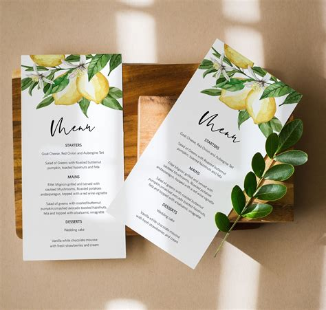 Lemon Menu Card Citrus Menu Template Instant Download 2