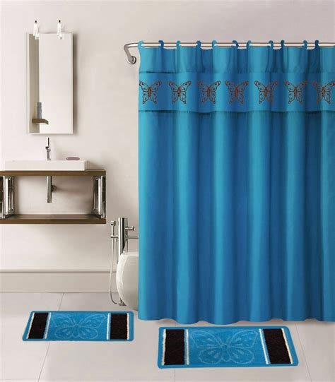 1 shower curtain fabric hooks bathroom bath mats turquoise butterflies ebay