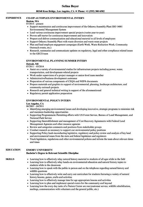 resume for environmental internship intern environmental resume sles velvet