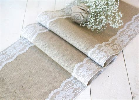 burlap table runner with lace burlap table runner with ivory lace rustic table runner