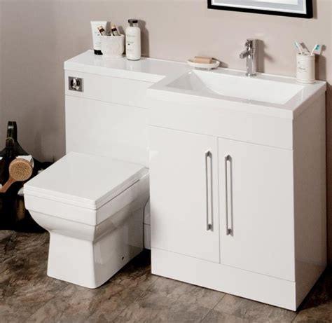 L Shaped Bathroom Vanity Unit by L Shaped 1100mm Gloss White Vanity Unit And Wc Combination Rh