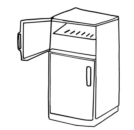 open fridge clipart black and white colouring picture of refrigerator clipart best