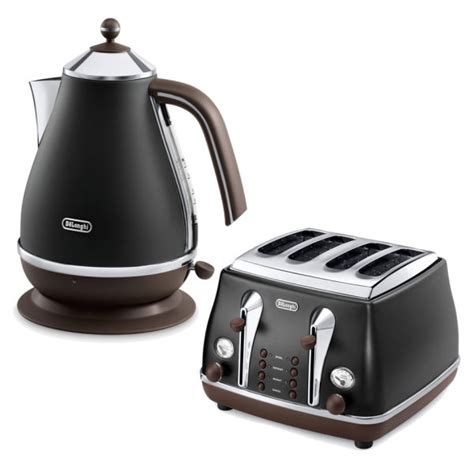 Delonghi Icona Kettle And Toaster Black de longhi icona vintage 4 slice toaster and kettle bundle