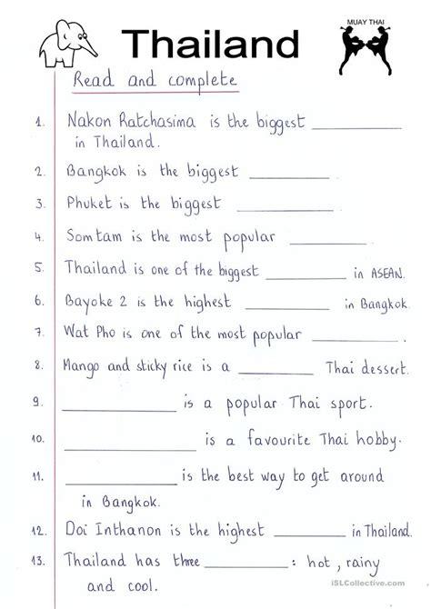read  complete thailand worksheet  esl