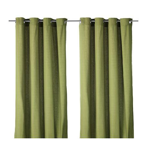 ikea mariam curtains drapes 2 panels green grommet eyelet