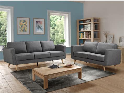 canapé 2 places et 3 places canapé 3 places ou 2 places tissu gris dovali