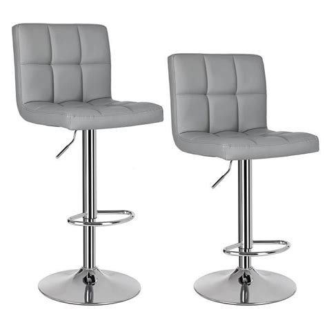 chaise de bar grise songmics lot de 2 tabourets de bar stool avec dossier