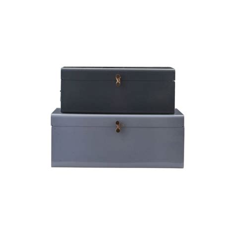 House Doctor Boxen by House Doctor Storage Box Set Of 2 Blue Green Metal