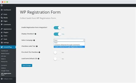 Wp Registration Form Using Convertplus?