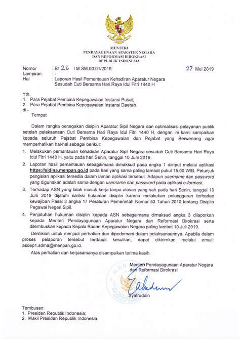 kementerian pendayagunaan aparatur negara  reformasi birokrasi surat menteri panrb nomor
