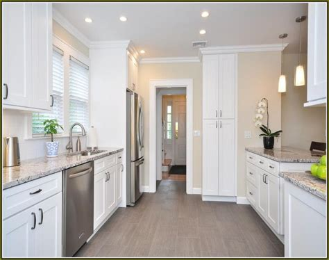 white kitchen cabinets  grey floors google search