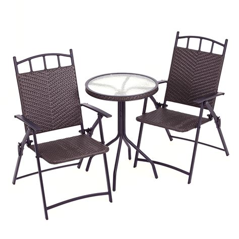 rattan effect bistro set table two folding chairs
