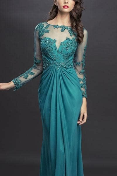long mother   bride groom dress ruched evening gown
