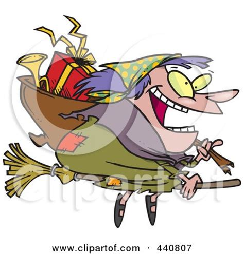 clipart befana of a happy witch flying on a broom