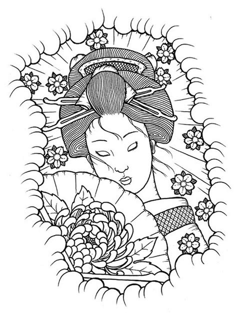 Uncolored geisha tattoo stencil | Tattoos Book | Coloring pages, Tattoo stencils, Adult coloring