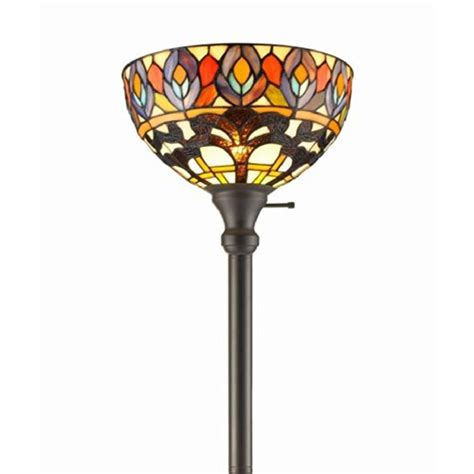 Amora Lighting 72 in. Tiffany Style Peacock Torchiere