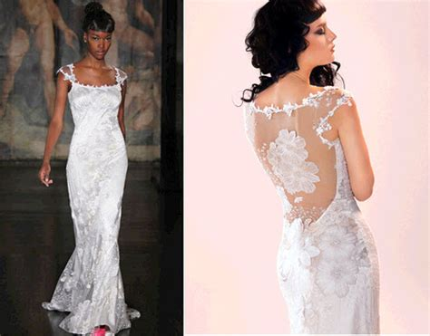 Claire Pettibone Wedding Dress With Illusion Fabric And