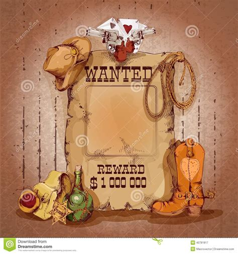 wild west poster stock vector image