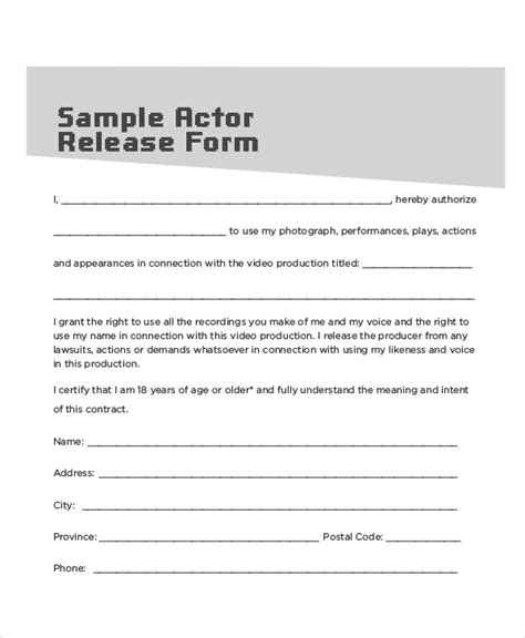 sample contract release forms  ms word
