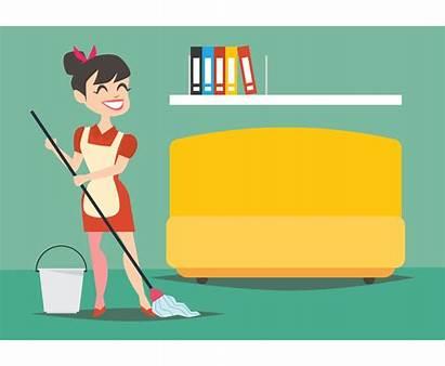 Cleaning Housewife Floor Vector Freevector