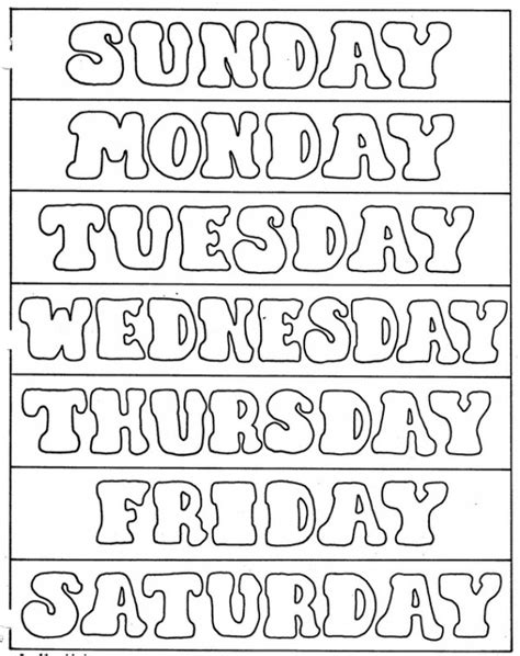 los dias de la semana  colorear colorear imagenes