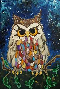 Original 'Little Owl' painting A Magical owl in acrylic ...