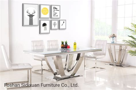 china modern home furniture glass top stainless steel