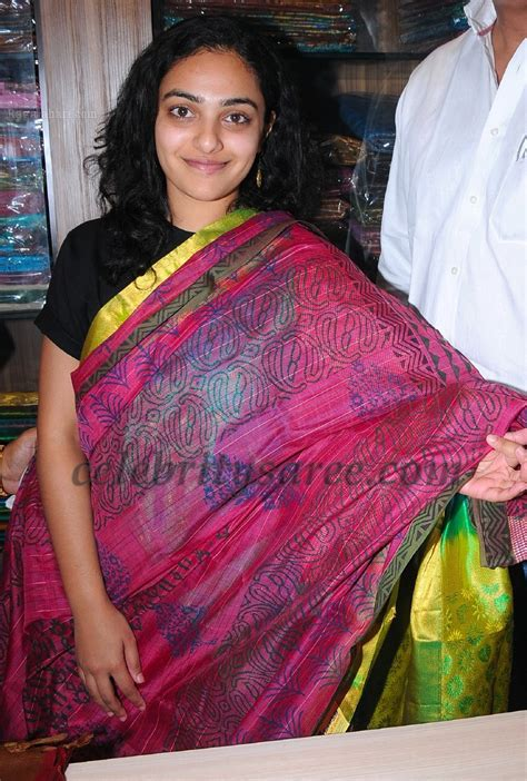 Nitya Menon Showcasing Silk Saris Saree Blouse Patterns