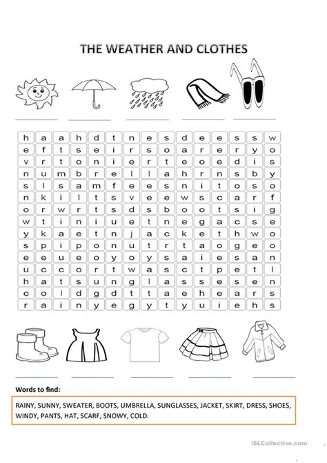 weather  clothes worksheet  esl printable