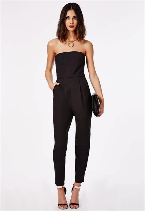 black s jumpsuit tailored bandeau jumpsuit black jumpsuits missguided