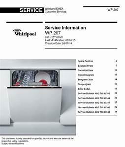 Whirlpool Wp 207 Dishwasher Service Manual  U0026 Technicians