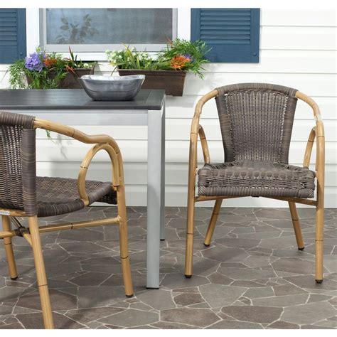 safavieh armchair safavieh dagny chocolate aluminum pe wicker patio armchair