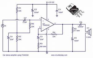 Car Amplifier Circuit Using Tda2040 In 2019