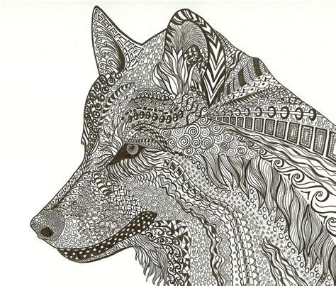 zen wolf   richards zentangle inspired art wolf art